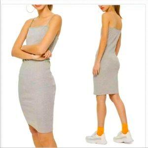 Topshop Bodycon Tank Top Midi Dress Gray Size 10
